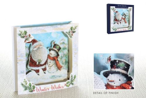 5 Tom Smith Luxury Handcrafted Cards Santa & Snowman